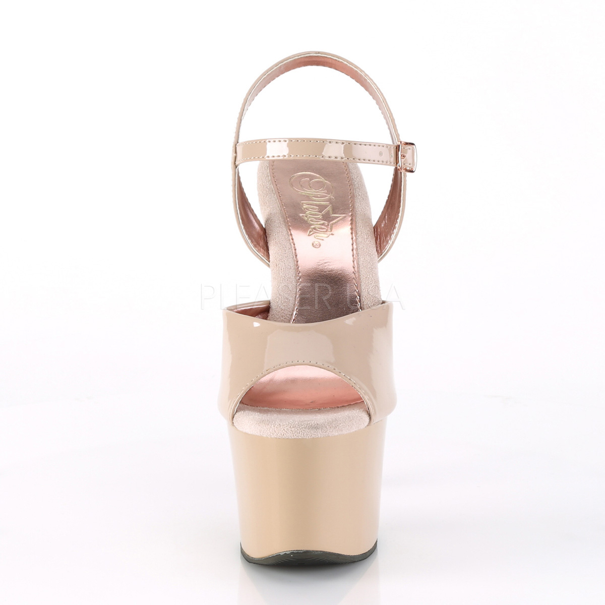 279004ed6fe Pleaser Sky-309TT Nude Patent And Nude-Rose Gold Chrome